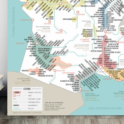 French map of wine regions and vineyards - zoom