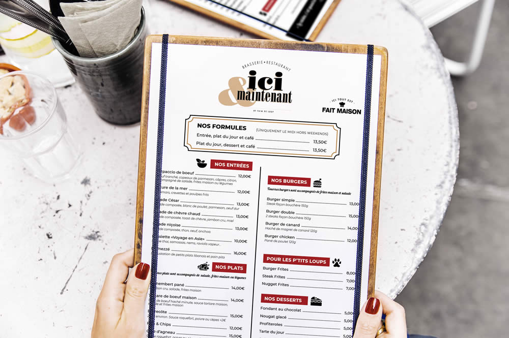 Menu Restaurant – Ici & Maintenant
